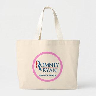 Romney Ryan Believe In America Round (Pink Border) Canvas Bag