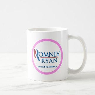 Romney Ryan Believe In America Round (Pink Border) Coffee Mug
