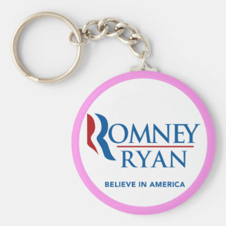 Romney Ryan Believe In America Round (Pink Border) Keychain