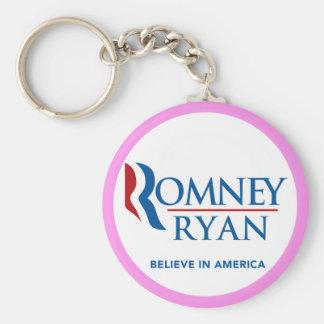Romney Ryan Believe In America Round (Pink Border) Key Chains