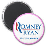 Romney Ryan Believe In America Round (Pink Border) Fridge Magnets