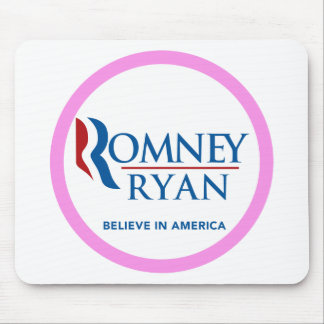 Romney Ryan Believe In America Round (Pink Border) Mousepads