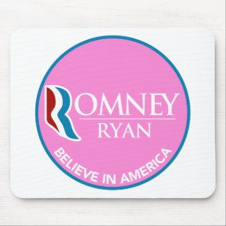 Romney Ryan Believe In America Round Pink Mousepads