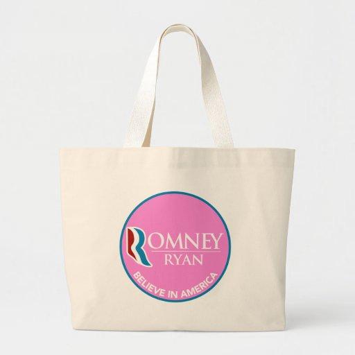 Romney Ryan Believe In America Round Pink Tote Bag