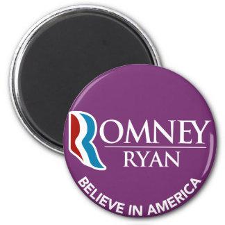 Romney Ryan Believe In America Round Purple 2 Inch Round Magnet