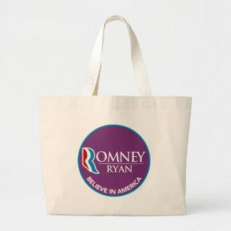 Romney Ryan Believe In America Round Purple Canvas Bag