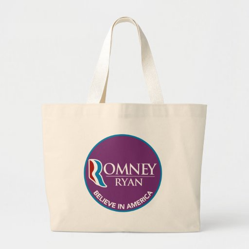 Romney Ryan Believe In America Round Purple Canvas Bag