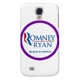 Romney Ryan Believe In America Round Purple Border Samsung Galaxy S4 Covers