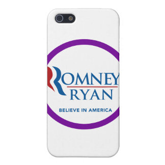 Romney Ryan Believe In America Round Purple Border Covers For iPhone 5