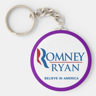 Romney Ryan Believe In America Round Purple Border Keychain