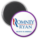 Romney Ryan Believe In America Round Purple Border Magnet