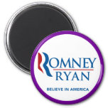 Romney Ryan Believe In America Round Purple Border Fridge Magnets