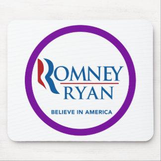 Romney Ryan Believe In America Round Purple Border Mouse Pad