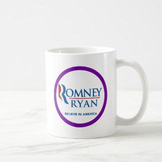 Romney Ryan Believe In America Round Purple Border Coffee Mugs