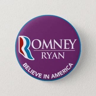 Romney Ryan Believe In America Round Purple Button