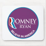 Romney Ryan Believe In America Round Purple Mouse Pad