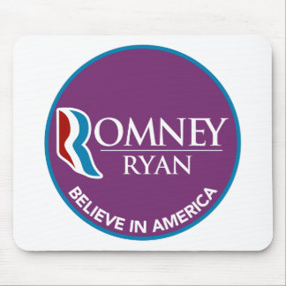 Romney Ryan Believe In America Round Purple Mouse Pad