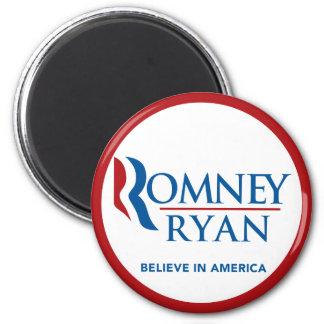 Romney Ryan Believe In America Round (Red Border) 2 Inch Round Magnet