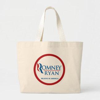 Romney Ryan Believe In America Round (Red Border) Tote Bags