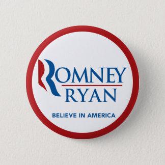 Romney Ryan Believe In America Round (Red Border) Button