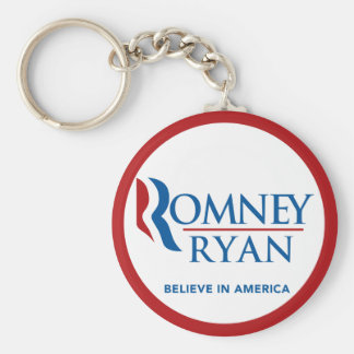 Romney Ryan Believe In America Round (Red Border) Keychain