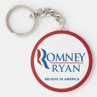 Romney Ryan Believe In America Round (Red Border) Keychain