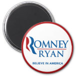Romney Ryan Believe In America Round (Red Border) Fridge Magnet