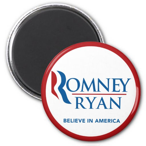 Romney Ryan Believe In America Round (Red Border) Refrigerator Magnet