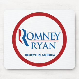 Romney Ryan Believe In America Round (Red Border) Mouse Pads