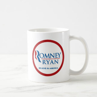 Romney Ryan Believe In America Round (Red Border) Coffee Mug