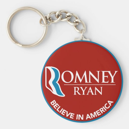 Romney Ryan Believe In America Round Red Key Chain