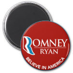 Romney Ryan Believe In America Round Red Magnets