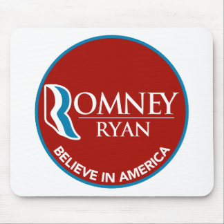 Romney Ryan Believe In America Round Red Mouse Pad