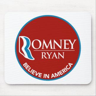 Romney Ryan Believe In America Round Red Mousepad