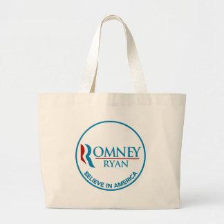 Romney Ryan Believe In America Round White Tote Bags