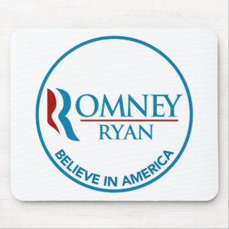 Romney Ryan Believe In America Round White Mousepad
