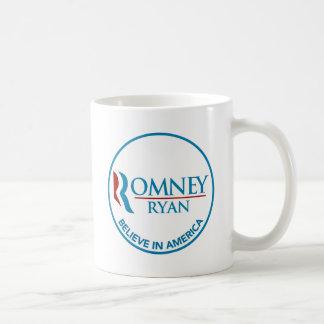 Romney Ryan Believe In America Round White Coffee Mug