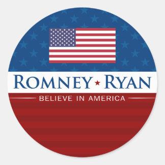 Romney Ryan Believe in America Round Sticker