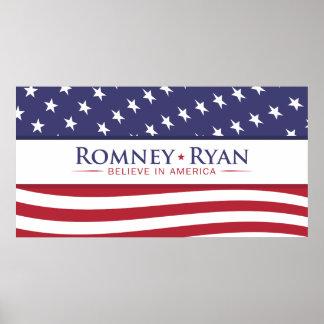 Romney & Ryan Believe in America US Flag Poster