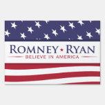 Romney & Ryan Believe in America US Flag Yard Sign