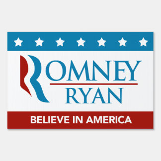 Romney Ryan Believe In America Yard Sign (Flag)