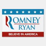 Romney Ryan Believe In America Yard Sign (Flag)