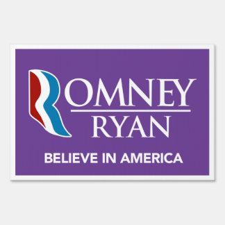 Romney Ryan Believe In America Yard Sign (Purple)