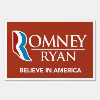 Romney Ryan Believe In America Yard Sign (Red)