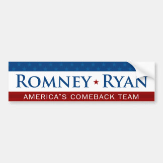 Romney & Ryan Comeback Team Bumper Sticker Car Bumper Sticker
