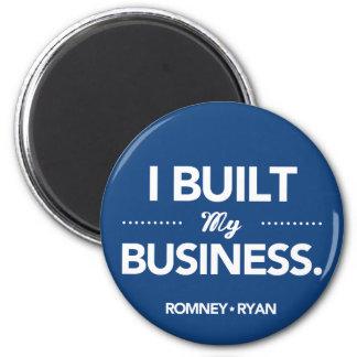 Romney Ryan construí mi negocio (azul) Imán Redondo 5 Cm