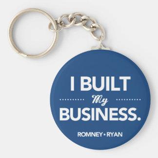 Romney Ryan construí mi negocio (azul) Llavero Redondo Tipo Pin