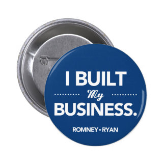Romney Ryan construí mi negocio (azul) Pin Redondo De 2 Pulgadas