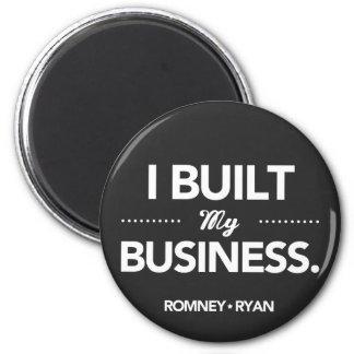 Romney Ryan construí mi negocio redondo (el negro) Imán Redondo 5 Cm