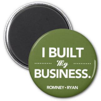 Romney Ryan construí mi negocio redondo (el verde) Imán Redondo 5 Cm